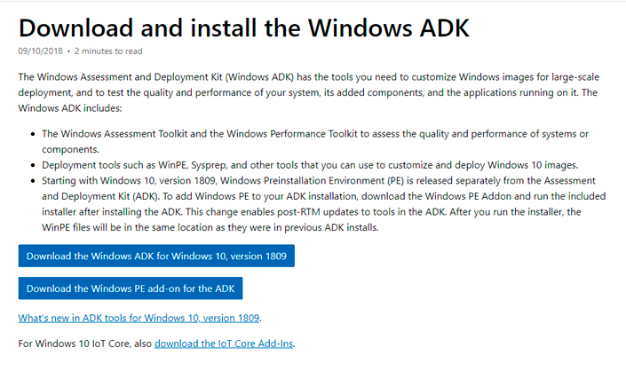 Official package Windows ADK