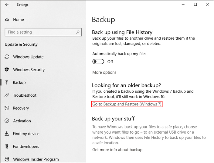 Go to Backup and Restore section