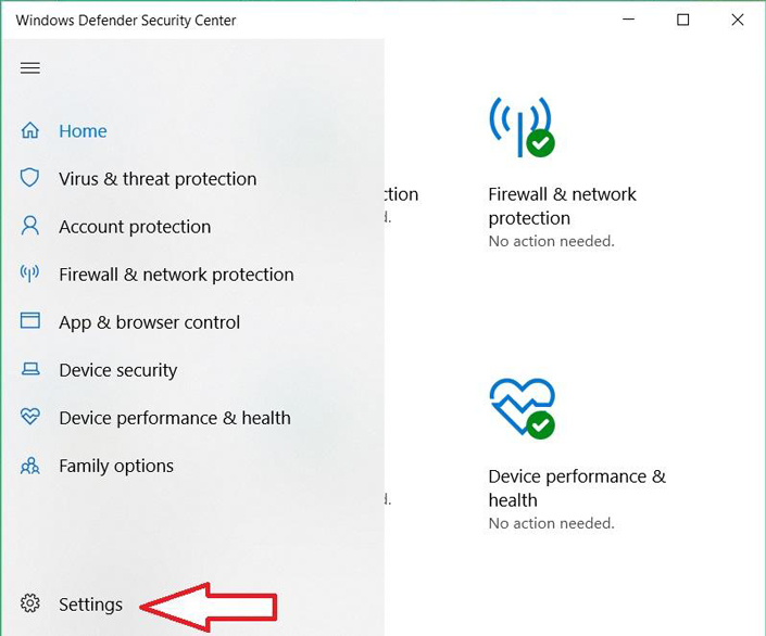 Windows Defender settings can be found in a sidebar menu