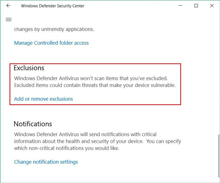 Exclusions in Windows Defender settings