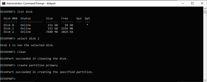 Partition primary command