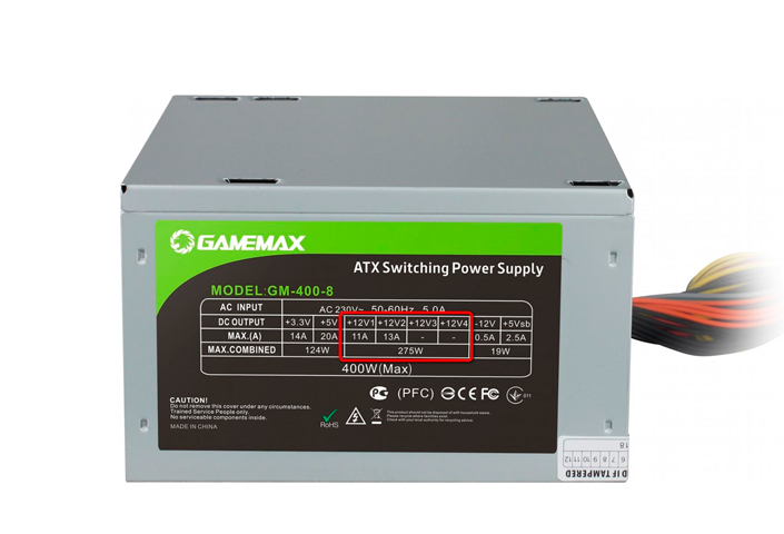Capacity specified on the PSU sticker