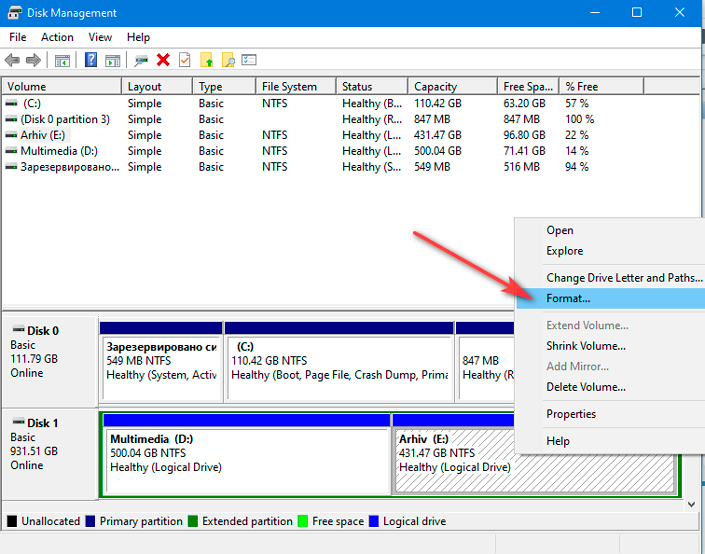 Selecting disk formatting